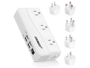 BESTEK 200W Power Converter 3-Outlet and 4-Port USB Travel Voltage Transformer 220V to 110V with Type G/D/M/AU/US Travel Plug Adapters
