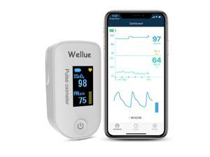Wellue Pulse Oximeter Fingertip Bluetooth Blood Oxygen Saturation Monitor with Batteries for Wellness Use FS20F