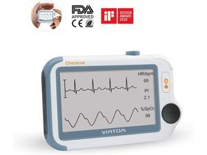 ViATOM Portable ECG/EKG Monitor Checkme Pro Doctor with APP & PC Report, Blood Pressure Monitor 24-Hour ECG Holter Overnight Oxygen Monitoring for Sleep Apnea Professional/Home Use FDA Cleared