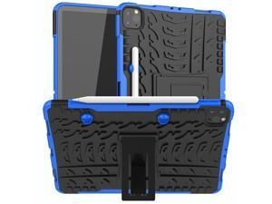Removable TPU Shell Case for iPad Pro 11 2021 A2377 with Pencil Holder Back Kickstand Tablet Case for iPad Pro 11 2020 A2228 Blue