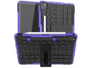 Removable TPU Shell Case for iPad Pro 11 2021 A2377 with Pencil Holder Back Kickstand Tablet Case for iPad Pro 11 2020 A2228 Purple