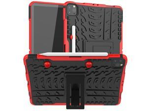 Removable TPU Shell Case for iPad Pro 11 2021 A2377 with Pencil Holder Back Kickstand Tablet Case for iPad Pro 11 2020 A2228 Red
