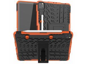 Removable TPU Shell Case for iPad Pro 11 2021 A2377 with Pencil Holder Back Kickstand Tablet Case for iPad Pro 11 2020 A2228 Orange