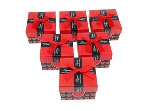 6pcs Paper Cardboard Jewelry Gift Box Watch Ring Earring Storage Case Red