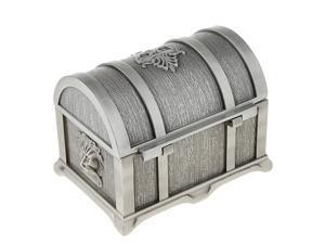 Rectangle Vintage Metal Treasure Chest Trinket Jewellery Box Antique Silver