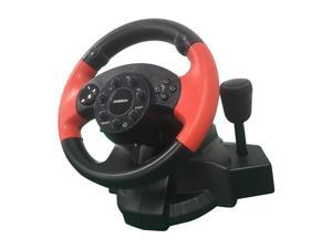 Racing Driving Game Steering Wheel Brake Pedal Kit USB Vibration for PS3 PS2