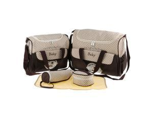 5pcs Baby Diaper Nappy Changing Mat Bags Tote Mummy Handbag Coffee
