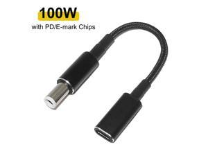 100W USB-C Type C Female to 7.4x5.0mm PD Charger Power Cable for Dell 90W or below Laptops
