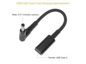 100W USB C Type-C Female to 4.0x1.7mm DC Tip PD Power Cable for Lenovo ideapad Laptops