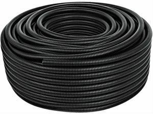 "50 Ft. 1/2"" Split Wire Loom Conduit Polyethylene Tubing Black Color Sleeve Tube"