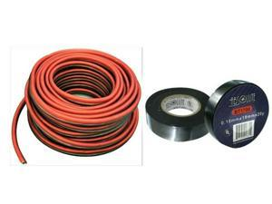 """16 Gauge 25 Feet Red Black Speaker Wire and 3/4"""" x 60' FT Black Electrical Tape"""