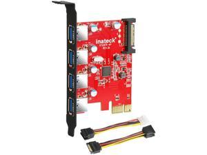 Inateck Superspeed 4 Ports PCI-E to USB 3.0 Expansion Card - Interface USB 3.0 4-Port Express Card Desktop with 15 pin SATA Power Connector