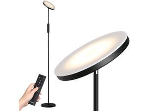 Tomons LED Floor Lamp with Stepless Dimming/Color Temperature Super Bright Torchiere Lamp Touch/Remote Control for Living Room, Bedroom, Office, Studio-Black