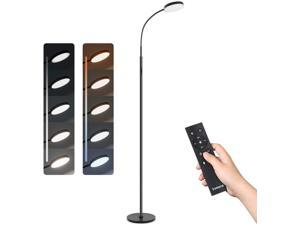 Tomons Dimmable LED Floor Lamp with Stepless Dimming/3000-6000K Color Temperature with Memory Mode & 1 Hour Time, Remote/Touch Control for Reading, Living Room, Bedroom, Office, Frosted Black
