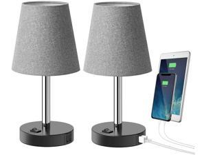 Tomons USB Table Lamp with 2 USB Charging Ports, Modern Minimalist Bedside Lamp Design Nightstand, Gray Fabric Shade Metal Desk Lamp for Bedroom, Living Room, Office, Guest Room, Kid's Room-Set of 2