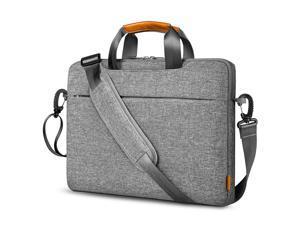 "Inateck 14"" 360° Protective Laptop Shoulder Bag Sleeve Crossbody Bag with Handles, Luggage Strap, Detachable Shoulder Strap, Splash-Resistant for Commuting, School, Business, Travel, Gray"