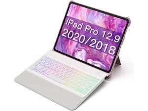 Inateck iPad Keyboard Case for iPad Pro 12.9 Inch 2020 (4th Gen) - iPad Pro 2018 12.9 (3rd Gen) with Hundreds of Backlits - RGB Tablet Keyboard - Stable Flexible Kickstand - KB02006 Pink