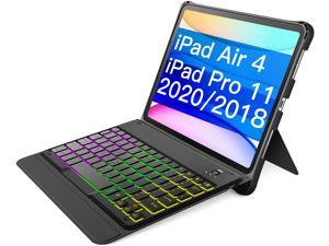Inateck Keyboard for iPad Air 4th 2020 10.9 inch - iPad Pro 11 Inch 2018/2020 (1st /2nd Generation), with Hundreds of Backlight - Stable and Flexible Kickstand