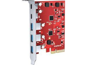 Inateck PCIe to USB 3.2 Gen 2 Card with 20 Gbps Bandwidth, 3 USB Type-A and 2 USB Type-C Ports, KU5211, Red