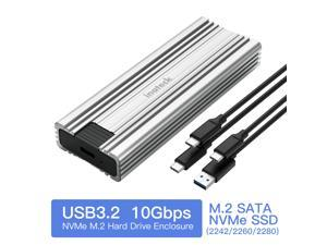 Inateck M.2 NVMe Enclosure,10 Gbps,USB 3.2 Gen 2, M.2 SATA and NVMe SSD Supported,Tool free, with USB A to C and USB C to C Cable