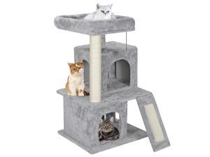 """34"""" Large Cat Tree Activity Scatch Tower Plush Perch w Ladders Kitty Play House"""