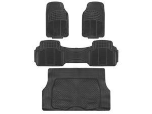 4pc Car Floor Mats Set Rubber Tortoise Liners w/ Cargo for Auto SUV Trucks Black