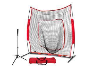 Pro-Style Batting Tee 7'×7' Baseball Softball Practice Net w/Bag Bow Frame