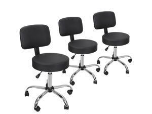Set of 3 Adjustable Hydraulic Rolling Swivel SPA Salon Stool Chair w/Back Rest