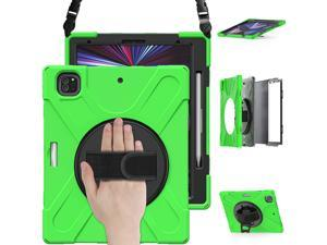 iPad Pro 12.9 Case 2021 5th Generation, Shockproof Rugged Drop Protection Cover with Pencil Holder and Rotating Kickstand Hand Strap / Shoulder Strap For iPad Pro 12.9 inch 2021 Green