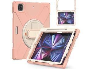 iPad Pro 12.9 Case 2021 5th Generation, Shockproof Rugged Drop Protection Cover with Pencil Holder and Rotating Kickstand Hand Strap / Shoulder Strap For iPad Pro 12.9 inch 2021 Rose Gold