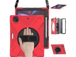 iPad Pro 12.9 Case 2021 5th Generation, Shockproof Rugged Drop Protection Cover with Pencil Holder and Rotating Kickstand Hand Strap / Shoulder Strap For iPad Pro 12.9 inch 2021 Red
