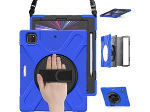 iPad Pro 12.9 Case 2021 5th Generation, Shockproof Rugged Drop Protection Cover with Pencil Holder and Rotating Kickstand Hand Strap / Shoulder Strap For iPad Pro 12.9 inch 2021 Blue