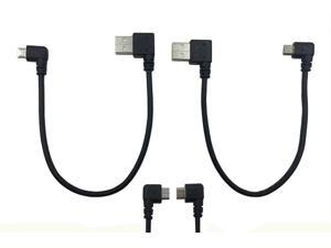 2pack Left & Right Angle Micro USB 5 Pin Male to USB 2.0 Type A Right Angle Male Data Sync and Charge Cable for Samsung, HTC