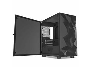 DLM21 Mesh Front Panel M-ATX Tower Gaming Computer Case Tempered Glass