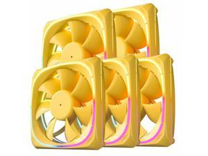 5x   CF120,Yellow Frame 120mm ARGB MB Sync PC Computer Silence Cooling Fan