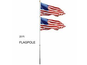 25FT Sectional Aluminum Flagpole + 2 US American Flag Pole Gold Ball Outdoor Kit