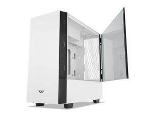 V22 White Mid Tower PC Case M-ATX W/ Vertical Graphics Card Instal