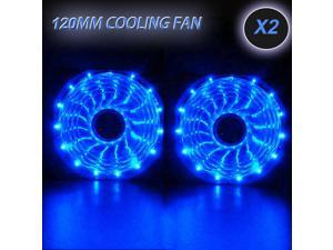 4x Blue 120mm 15 LED Neon Light Quite 12V PC Computer Case Cooling Cool Fan Mod