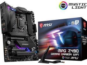 MSI MPG Z490 Gaming Carbon WiFi Gaming Motherboard (ATX, 10th Gen Intel Core, LGA 1200 Socket, DDR4, SLI/CF, Dual M.2 Slots, USB 3.2 Gen 2, Wi-Fi 6, DP/HDMI, Mystic Light RGB)