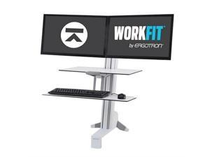 Ergotron 33-349-211 WorkFit-S, Dual Workstation with Worksurface (white), Standing Desk Attachment - Front Clamp