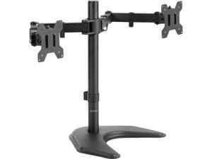 VIVO STAND-V002F Dual LED LCD Monitor Free-Standing Desk Stand for 2 Screens up to 27 Inch Heavy-Duty Fully Adjustable Arms with Max VESA 100x100mm