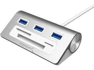"""Sabrent Premium 3 Port Aluminum USB 3.0 Hub with Multi-in-1 Card Reader (12"""" Cable) for iMac, All MacBooks, Mac Mini, or Any PC (HB-MACR)"""