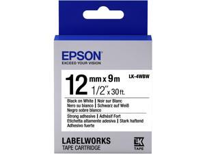"Epson LabelWorks Strong Adhesive LK Tape Cartridge ~1/2"" Black on White"