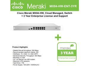Cisco Meraki Cloud Managed Security FD MX84-HW with 3 Year Enterprise License