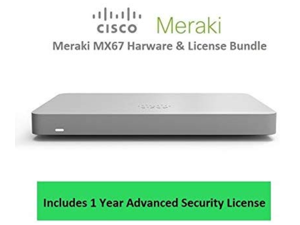 Cisco Meraki MX67 Router Security Appliance Includes 1 Year Advanced Security License