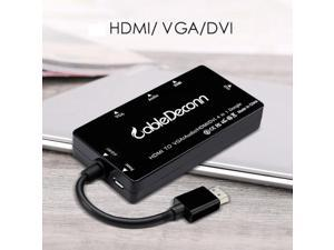 Cabledeconn 4 in 1 Display Converter Micro USB to HDMI VGA DVI HD TV Port video cable for TV, projector, display with HDMI port