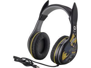 eKids Batman Kids Headphones, Adjustable Headband, Stereo Sound, 3.5Mm Jack, Wired Headphones for Kids, Tangle-Free, Volume Control, Childrens Headphones Over Ear for School Home, Travel