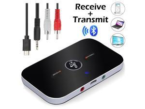 Bluetooth 5.0 Transmitter & Receiver Wireless Audio Adapter with 3.5mm Aux RCA Cable for TV Home Stereo Smartphone PC