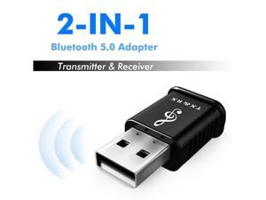 Bluetooth 5.0 Transmitter Receiver Stereo Wireless Bluetooth Adapter with 3.5mm Aux Cable for Car Audio TV PC Speakers