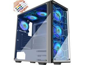 MUSETEX Phantom Black ATX Mid-Tower Case with 6 ×120mm ARGB Fans, USB 3.0 Tempered Glass Panels Gaming PC Case